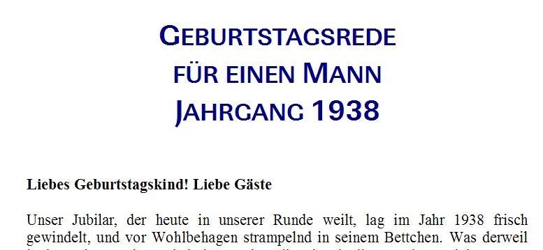 Geburtstagsrede für den Jahrgang 1938 männlich