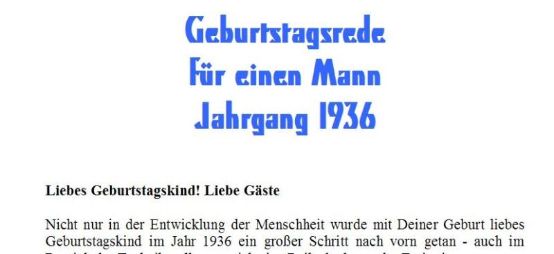Geburtstagsrede für den Jahrgang 1936 männlich