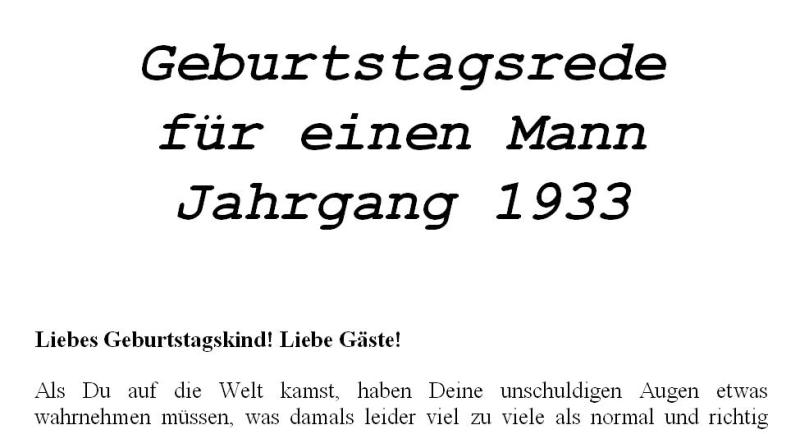 Geburtstagsrede für den Jahrgang 1933 männlich