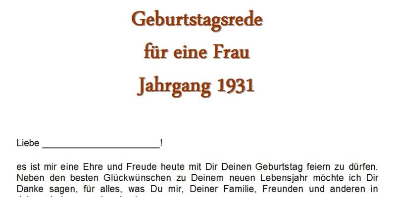 Geburtstagsrede für den Jahrgang 1931 weiblich