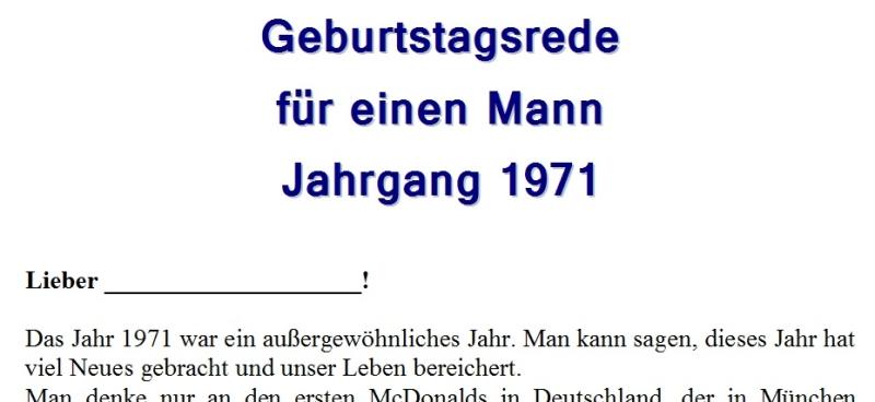 Geburtstagsrede für einen Mann Jahrgang 1971
