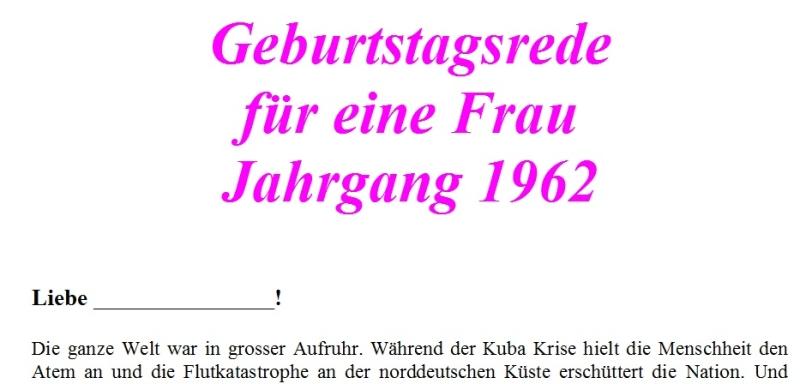Geburtstagsrede Jahrgang 1962 weiblich