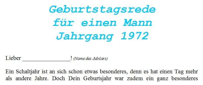 Geburtstagsrede für einen Mann Jahrgang 1972