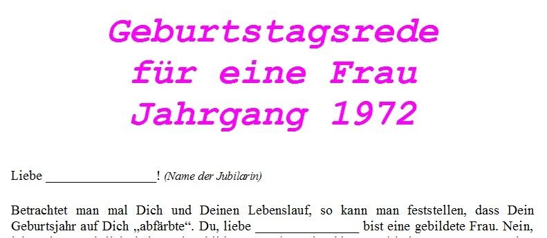 Geburtstagsrede Jahrgang 1972 weiblich