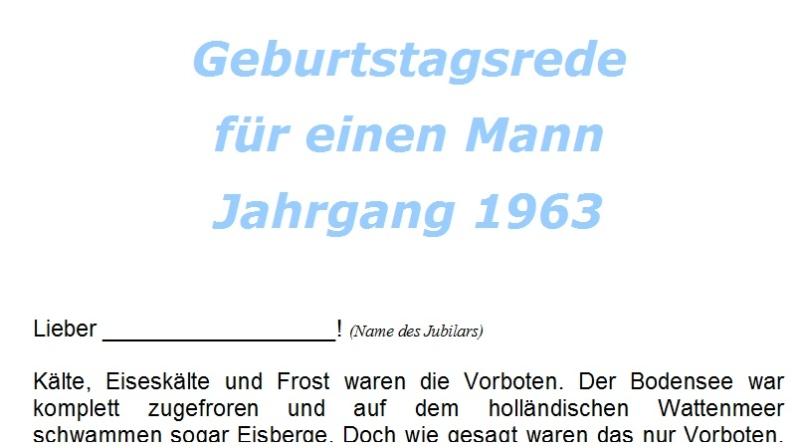 Geburtstagsrede für einen Mann Jahrgang 1963