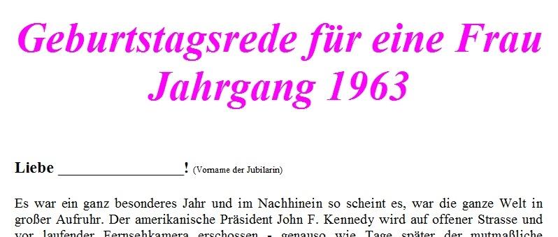 Geburtstagsrede für den Jahrgang 1963 weiblich
