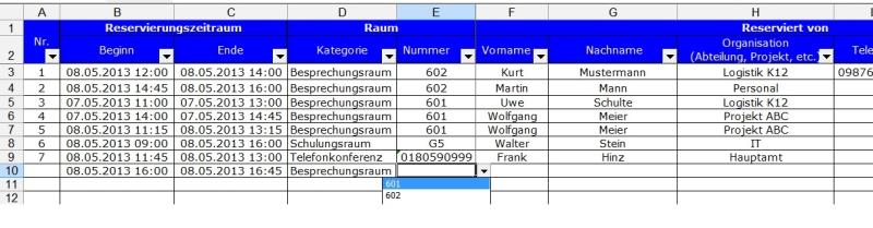 Praxiserprobte Excel Losung Fur Raumbuchungen Und Reservierungen