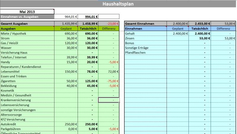 Haushaltsplaner für MS Excel