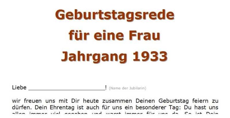 Geburtstagsrede für eine Frau Jahrgang 1933