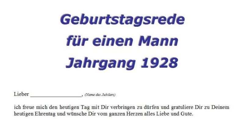 Geburtstagsrede für einen Mann Jahrgang 1928
