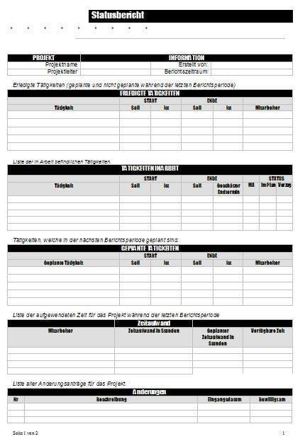 Vorlagenpaket Statusberichte