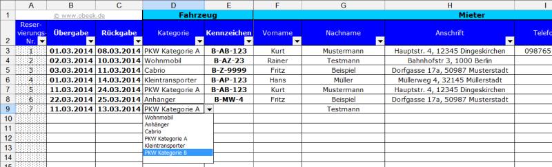 Fahrzeugverleih und -vermietung mit MS Excel