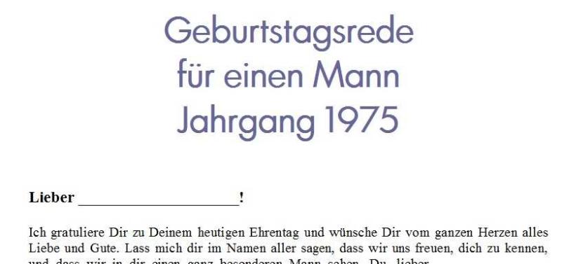 Geburtstagsrede für einen Mann Jahrgang 1975
