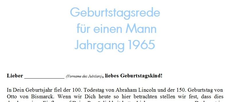 Geburtstagsrede für einen Mann Jahrgang 1965