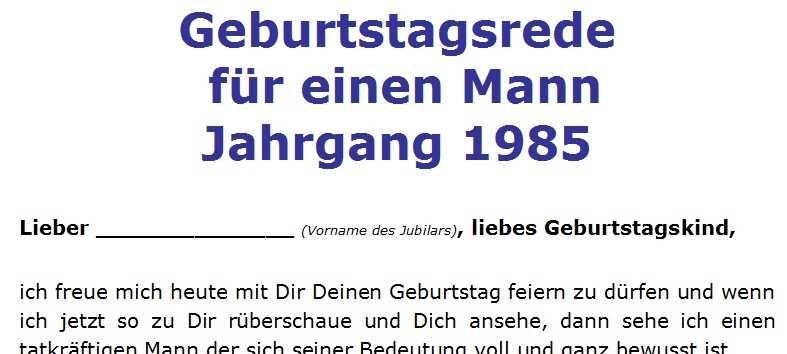 Geburtstagsrede für einen Mann Jahrgang 1985