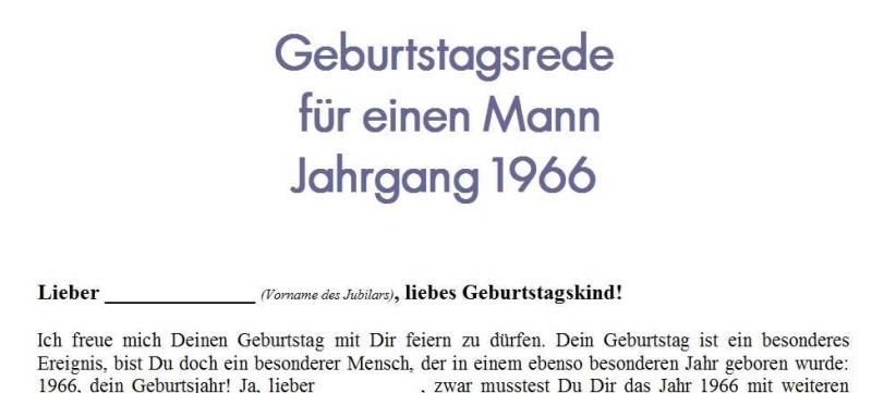 Geburtstagsrede für einen Mann Jahrgang 1966