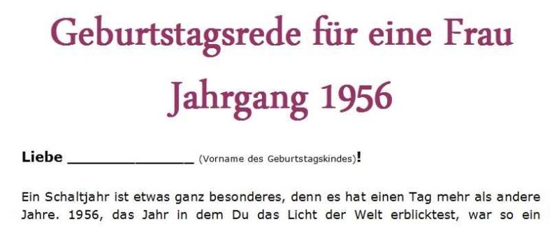 Geburtstagsrede für eine Frau Jahrgang 1956