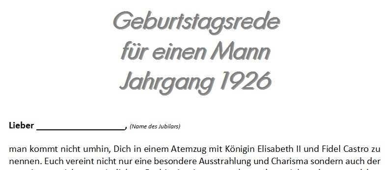 Geburtstagsrede für einen Mann Jahrgang 1926
