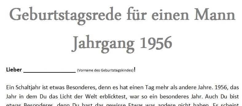 Geburtstagsrede für einen Mann Jahrgang 1956
