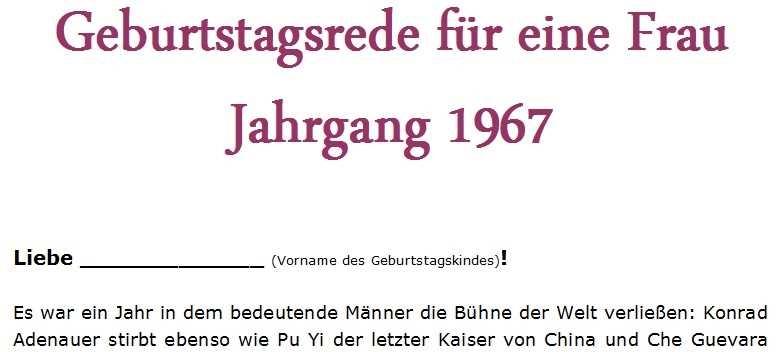 Geburtstagsrede für eine Frau Jahrgang 1967
