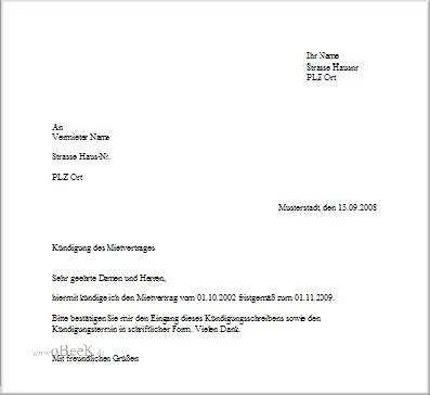 Briefvorlage zur Kündigung eines Mietvertrages