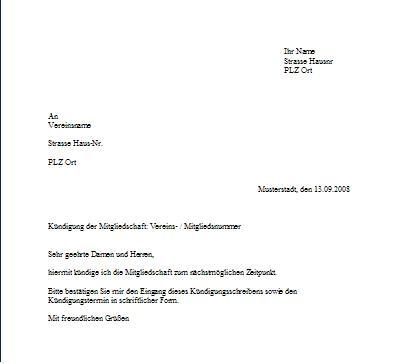 Briefvorlage zur Kündigung einer Mitgliedschaft im Verein o.ä.