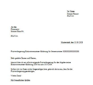 Briefvorlage Fristverlängerung Finanzamt