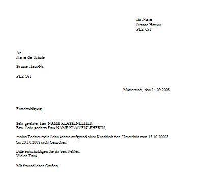 Briefvorlage für Schulentschuldigung wegen Krankheit