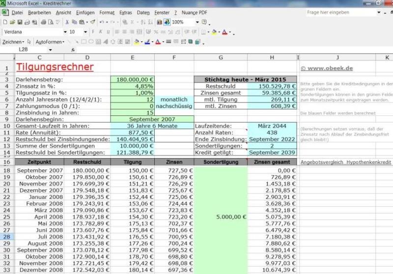 MS Excel Tilgungsplan für Annuitätendarlehen
