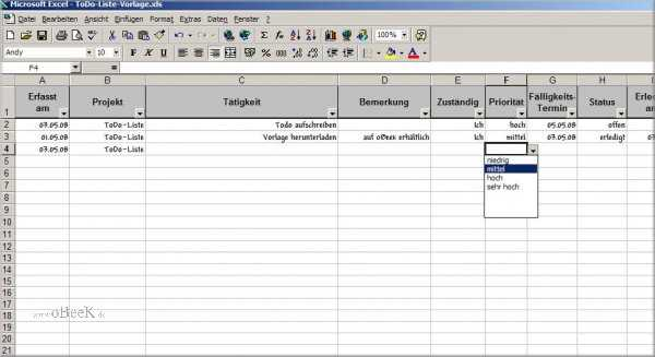 MS Excel Todo-Liste