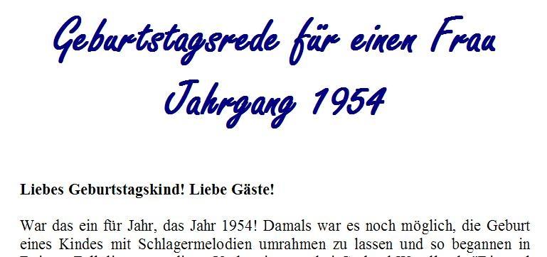 Geburtstagsrede für den Jahrgang 1954 (weiblich)